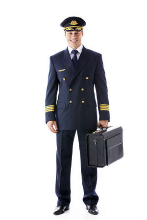 The pilot of a suitcase on a white background Stock Photo