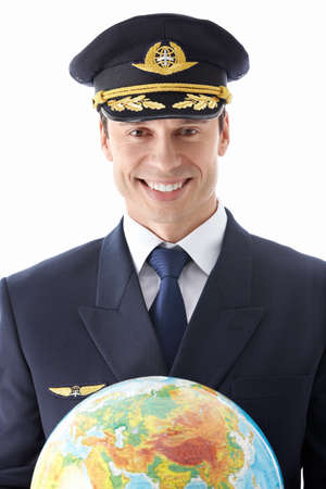 airline pilot: The pilot with the globe on a white background Stock Photo