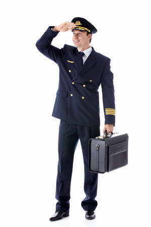 The pilot of a suitcase on a white background photo