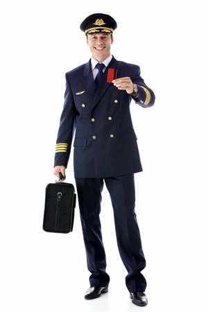 airline pilot: The pilot of a suitcase and a credit card on a white background Stock Photo