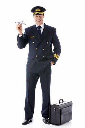 airline pilot: The pilot model airplane on a white background