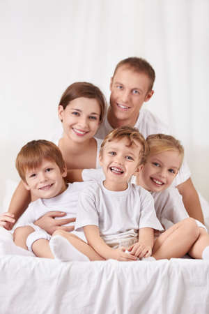 Families with children in the bedroom photo