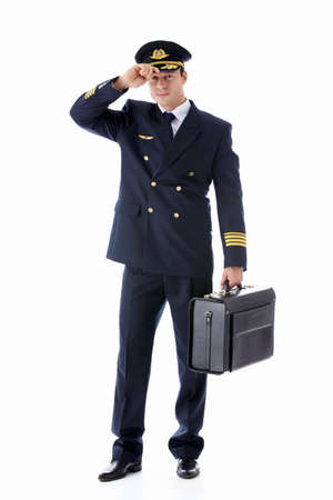 airline pilot: The man in the form of a pilot on a white background Stock Photo
