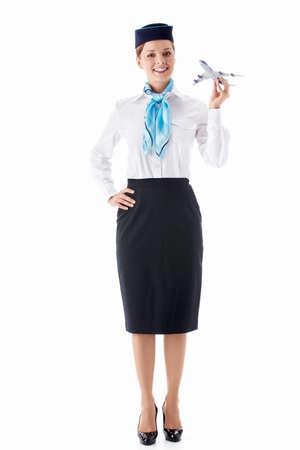 Stewardess in uniform on a white background Stock Photo - 12928690