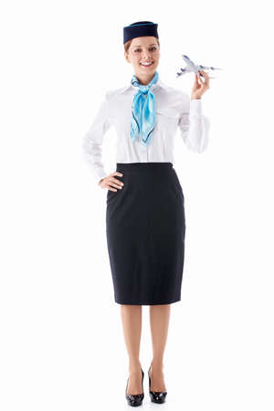 Stewardess in uniform on a white background Stock Photo - 12928690