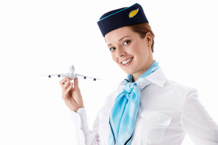 stewardess: Stewardess in uniform on a white background