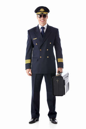 airline pilot: The pilot on a white background Stock Photo