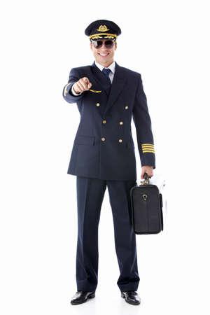 pilotos aviadores: El piloto sobre un fondo blanco