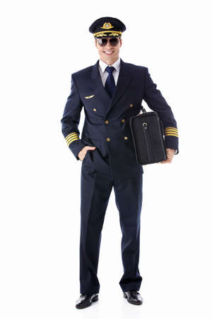 airline: The pilot of a suitcase on a white background Stock Photo