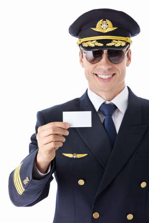 pilot: Aviator sunglasses with a business card on a white background