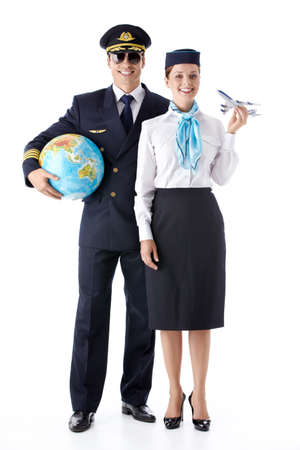 stewardess: The pilot and stewardess with a globe on a white background