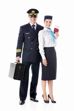Aviator and stewardess on a white background photo
