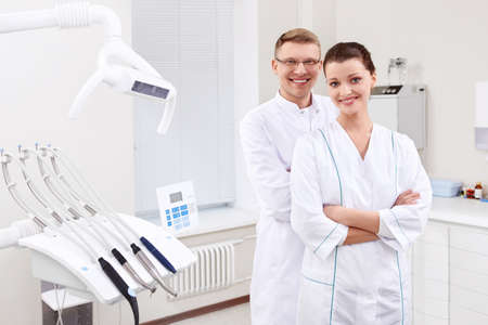 Dentists in the form at the clinic photo