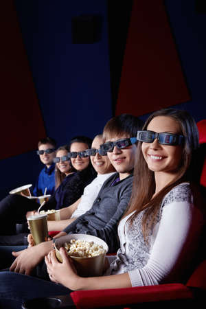 Happy people in 3D glasses at the cinema Stock Photo - 13143971
