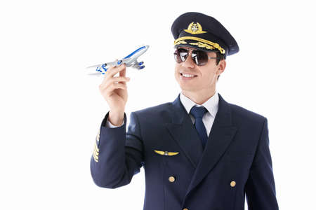 The pilot model airplane on a white background photo
