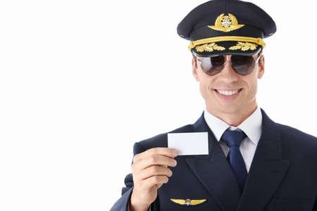 pilotos aviadores: El piloto de una tarjeta de visita sobre un fondo blanco Foto de archivo