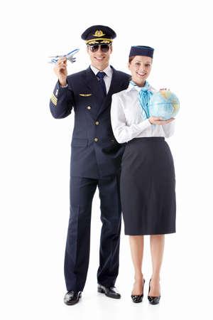 flight attendant: The pilot and flight attendant on a white background Stock Photo