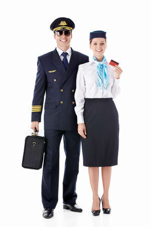 The pilot and flight attendant on a white background photo