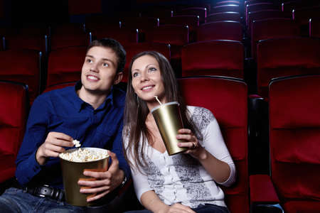 Young couple in the cinema photo