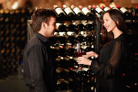 wine tasting: Sommelier offers wine tasting Stock Photo