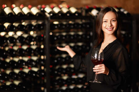 Sommelier offers wine tasting Stock Photo
