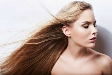 flying hair: Attractive girl with flying hair