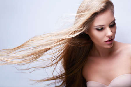 flying hair: Young attractive girl with flying hair