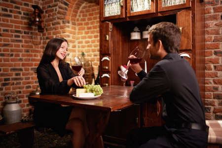 Young couple in a restaurant photo
