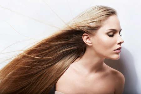 flying hair: Beautiful girl with long hair Stock Photo