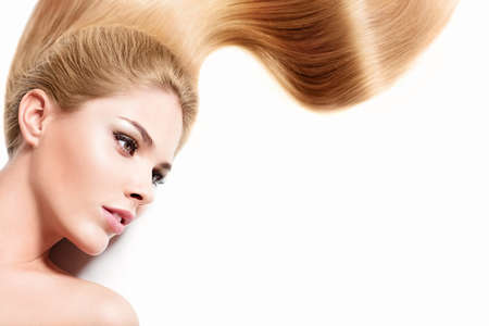 beautiful long hair: Young girl with healthy hair Stock Photo