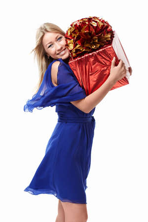 Beautiful girl with a gift Stock Photo - 15501830