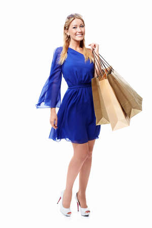 Beautiful girl with shopping bags on white background Stock Photo - 15501824