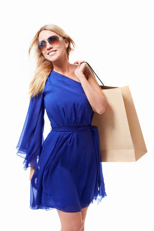 Beautiful girl with shopping bags on white background Stock Photo - 15501825