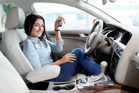 Young girl at the wheel with keys Stock Photo - 15573159