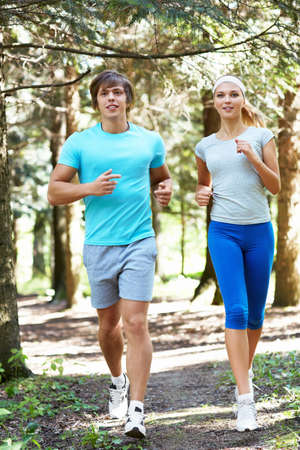 Young people running in the park Stock Photo - 15659125