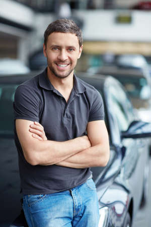 Young man next to the car Stock Photo - 15596415