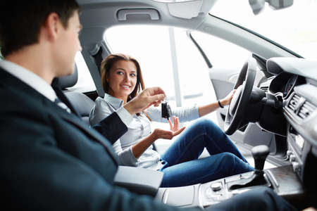 Seller and buyer at the wheel Stock Photo - 15880473