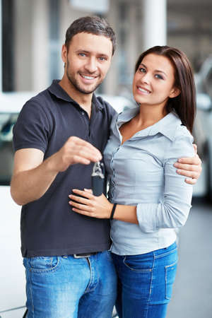 Young couple with car keys Stock Photo - 15896004