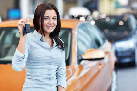 Beautiful girl with car keys Stock Photo - 16058555