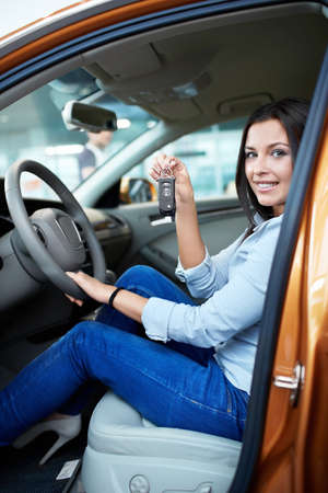 Beautiful girl behind the wheel Stock Photo - 16058575