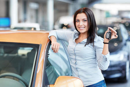 Beautiful girl with car keys photo