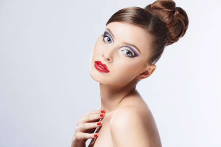 Beautiful girl with makeup and hair Stock Photo - 17447670