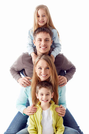smiling family: Happy family with children on a white background