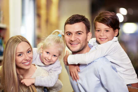 Smiling family with children photo