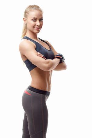 fitness: Ostenta a menina em um fundo branco Imagens