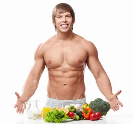 uomo nudo: L'uomo atletico con un torso nudo su sfondo bianco