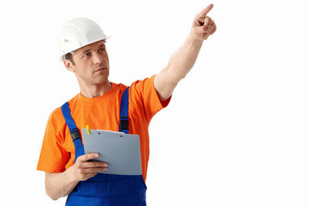 Builder in helmets on a white background photo