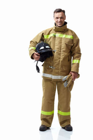 Fireman in uniform on a white background Stock Photo