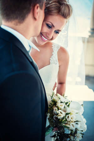 beautiful bride: Young happy bride and groom Stock Photo