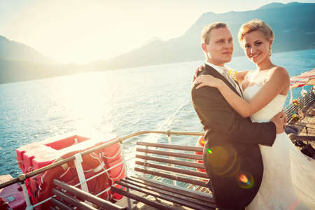 Young married couple on the ship photo